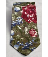 Halston III Men's 100% Silk Floral and Grapes Neck Tie Olive, Burgandy, ... - £8.03 GBP