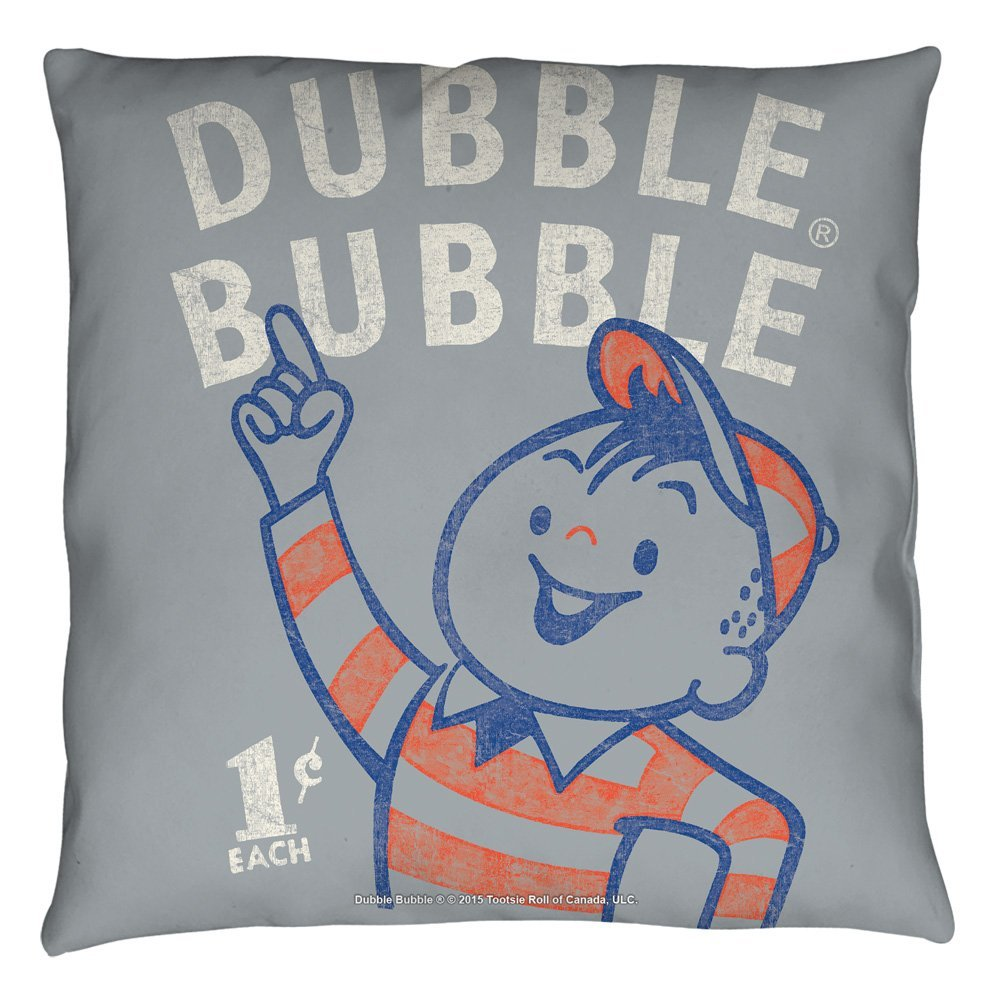 Dubble Bubble Pointing Throw Pillow White 18X18