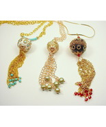Long Tassel Necklaces with Gold Chain and Large... - $25.00