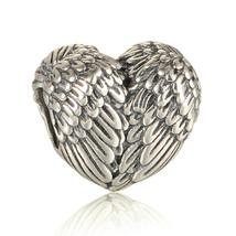 100% 925 Sterling Silver Angel Wing Heart Charm... - $16.97