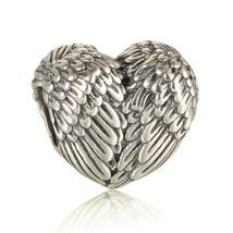 100% 925 Sterling Silver Angel Wing Heart Charm Fits European Charm Brac... - $16.97