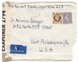 WWII 1942 GB Censored Cover Watford Herts Airmail to US Atlantic Clipper... - $6.69