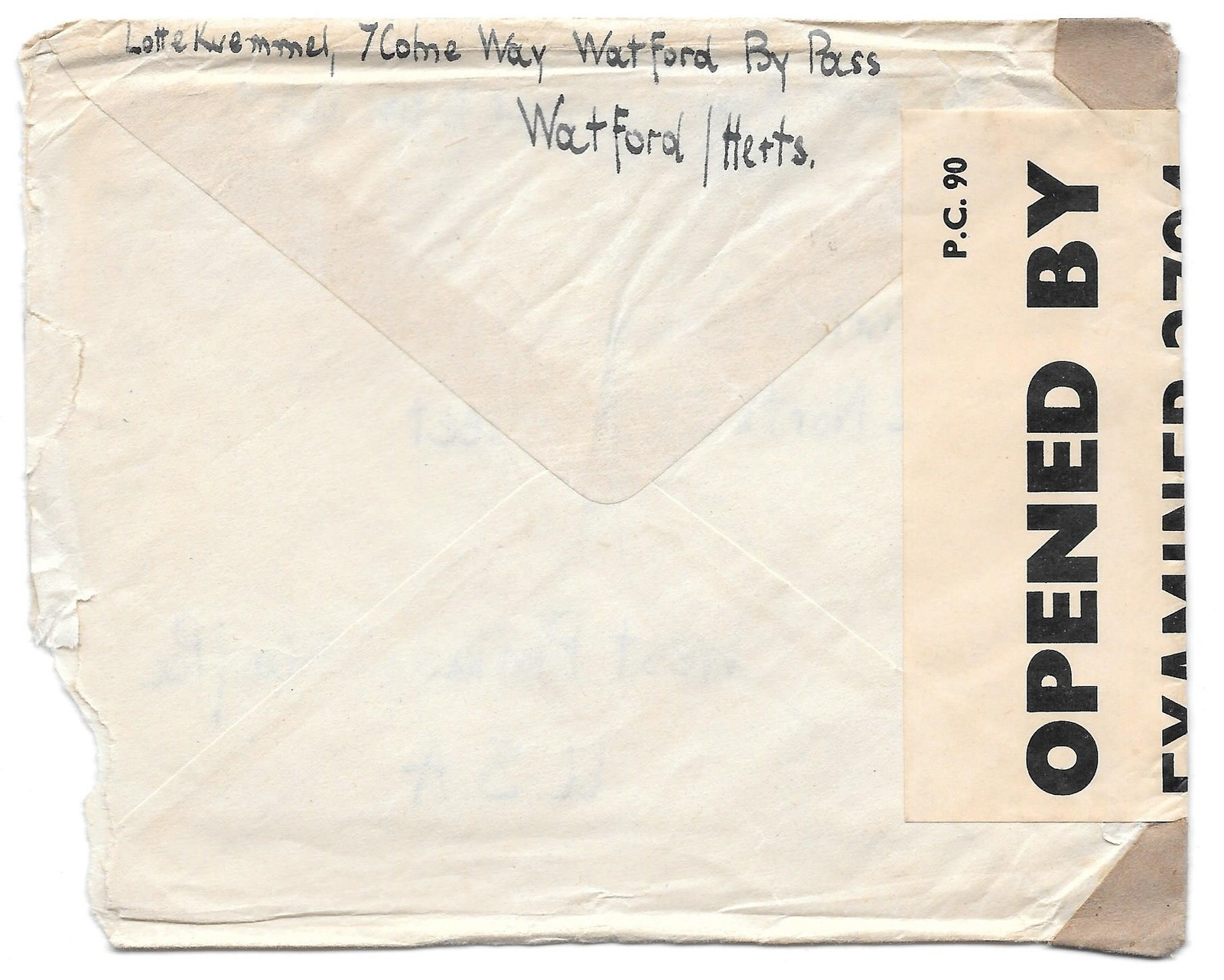 WWII 1942 GB Censored Cover Watford Herts Airmail to US Atlantic Clipper Ex 2794