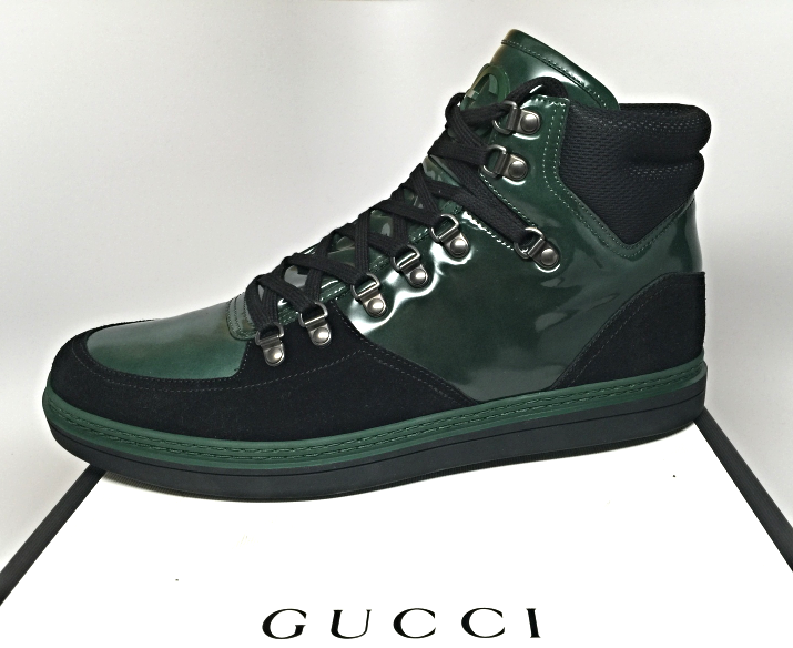859 GUCCI AUTHENTIC GG LOGO Contrast Patent Leather High-Top Sneakers Shoes  NEW ae6ac7cf8008