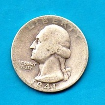 1941 Washington Quarter - Silver Circulated Heavy Wear - $10.00