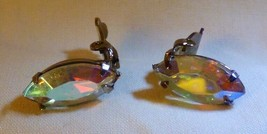 LOVELY Vintage 1930s Aurora Borealis Marquis Clip-On Earrings Fire-y Colors - $35.00