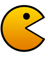 Pac-man shaped vinyl window sticker self cling 130mm Namco Atari - $4.50