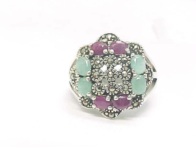 Primary image for RUBY and EMERALD Vintage RING with MARCASITES in Sterling Silver - Size 7 3/4