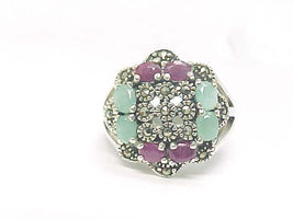 RUBY and EMERALD Vintage RING with MARCASITES in Sterling Silver - Size ... - $275.00