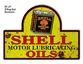 Reproduction Aged Shell Lubrication Laser Cut Out Metal  Sign 17×23 - $49.50