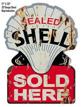 Reproduction Aged Sealed Shell Laser Cut Out Metal  Sign 17×23 - $49.50