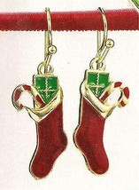 Christmas Earrings Holiday Dangle Earrings Red Stockings w/Green Pkg & Candycane - $12.82