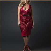 Sleeveless Scoop Neck Overlayed Sequins Empire Waist Belted Pencil Evening Dress image 2
