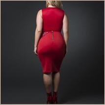 Sleeveless Scoop Neck Overlayed Sequins Empire Waist Belted Pencil Evening Dress image 3