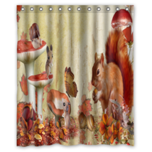 Fall Squirrel Mice Flower Butterfly Shower Curtain Waterproof Made From Polyeste - $29.07+