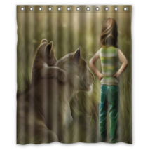 Fantasy Artistic Animal Young Girl Shower Curtain Waterproof Made From P... - $29.07+