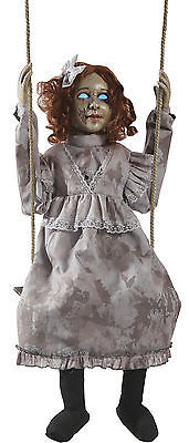 Animated Swinging Dead Girl Prop Haunted House Halloween Decoration