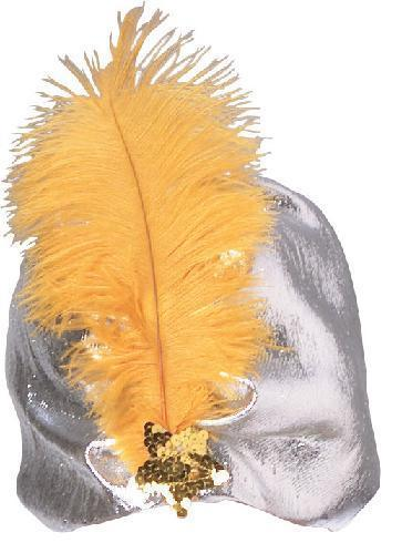 SILVER LAME TUBAN with GOLD FEATHER