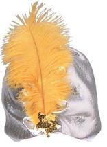 SILVER LAME TUBAN with GOLD FEATHER - $25.00