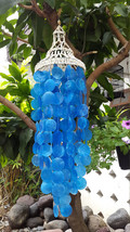 "Nassa Blue Capiz Shells Wind Chime Garden Decor / Beach Wedding Decor (31"") - $25.00"