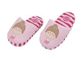 Cute Pink Girls Indoor Slippers Fluzzy Warm Footwear, 3-6 Yrs