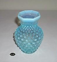Fenton Blue Opalescent Hobnail Vase 5 1/2 Inch Crimped - $23.50