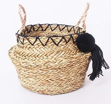 THESHOPLOCKER Small Natural Seagrass Big Belly Indoor Plant Basket with ... - $57.29 CAD