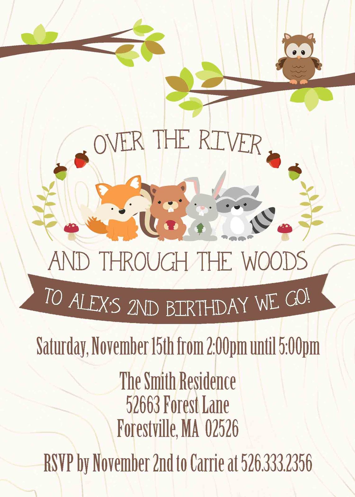 Woodland Forest Animals Birthday Invitation Personalized With Envelopes