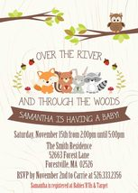 Woodland Forest Animals Baby Shower Invitation Personalized with envelopes - £0.74 GBP