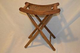 Antique  Vtg folding deck chair stool wood slated foot rest - €43,44 EUR