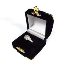 Black Velvet Ring Gift Boxes Brass Accents Wholesale 1 2 6 12 24 48 96 1... - $4.64+
