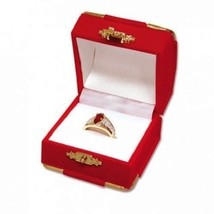 Red Velvet Ring Gift Boxes w/ Brass Accents Wholesale 1 2 6 12 24 48 96 ... - $4.64+