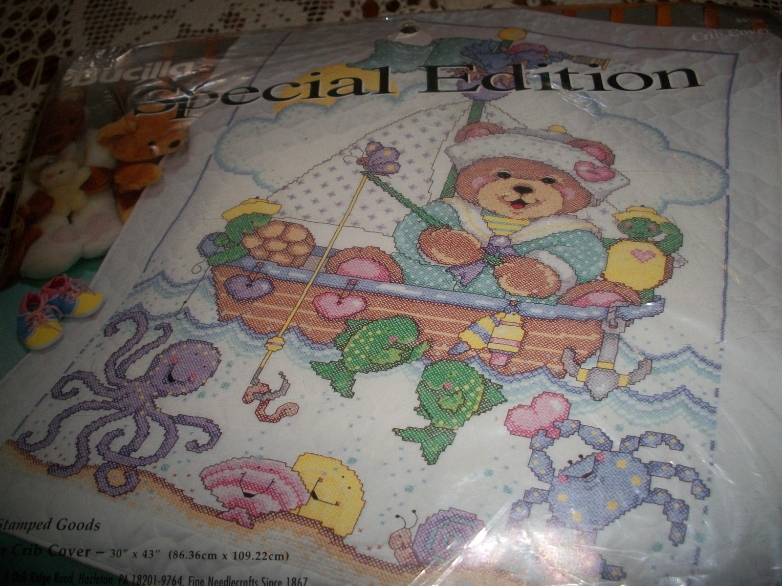 Primary image for Bucilla Sailor Bear Crib Cover 64548
