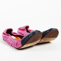 Lanvin Pink Black Leather Color Block Flats SZ 38.5 - $145.00