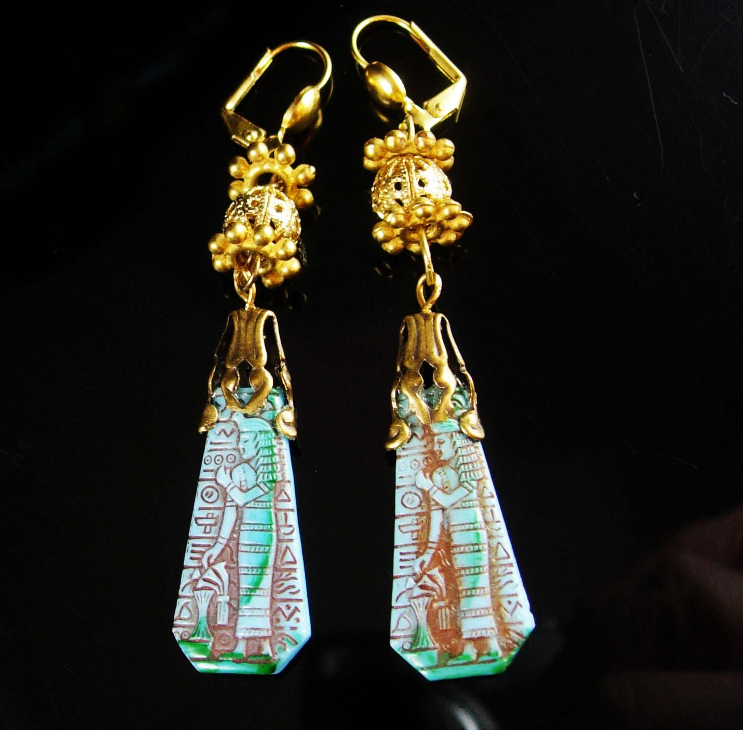 Vintage Egyptian Necklace Chandelier Earrings Vintage Art