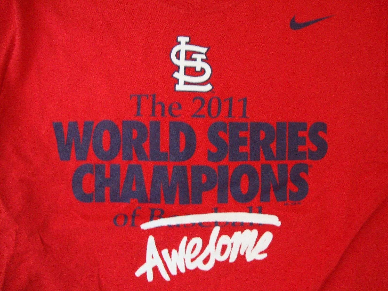 MLB St. Louis Cardinals Baseball 2011 World Champion Series Nike T Shirt Size M