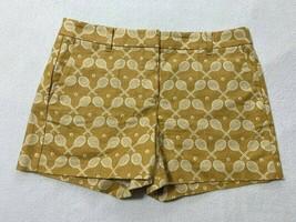 Ann Taylor 8 Devin Fit Mustard White Tennis Ball Racket Shorts Linen Look - $19.99