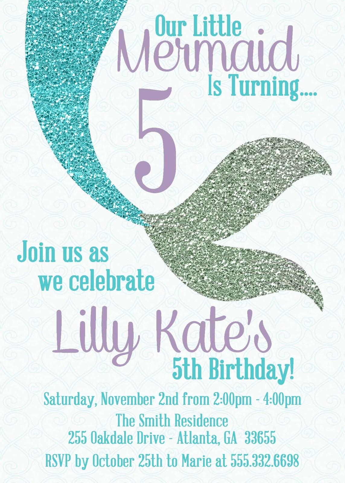Teal Glitter Mermaid Birthday Invitations And 48 Similar Items