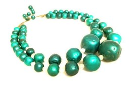 Metallic Green Beaded Necklace Double Strands Bold Nice Plastic Vintage ... - $39.60