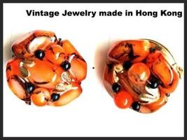 Black Orange Earrings Clip on Cluster Made in HONG KONG Plastic Vintage ... - $34.65