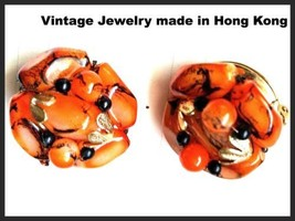 Black Orange Earrings Clip on Cluster Made in HONG KONG Plastic Vintage Jewelry - $34.65