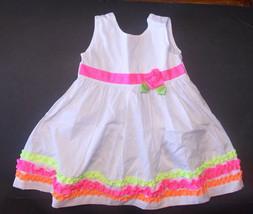 WonderKids Toddler Girls Dress White Pink Green Size 2T EUC - $9.45