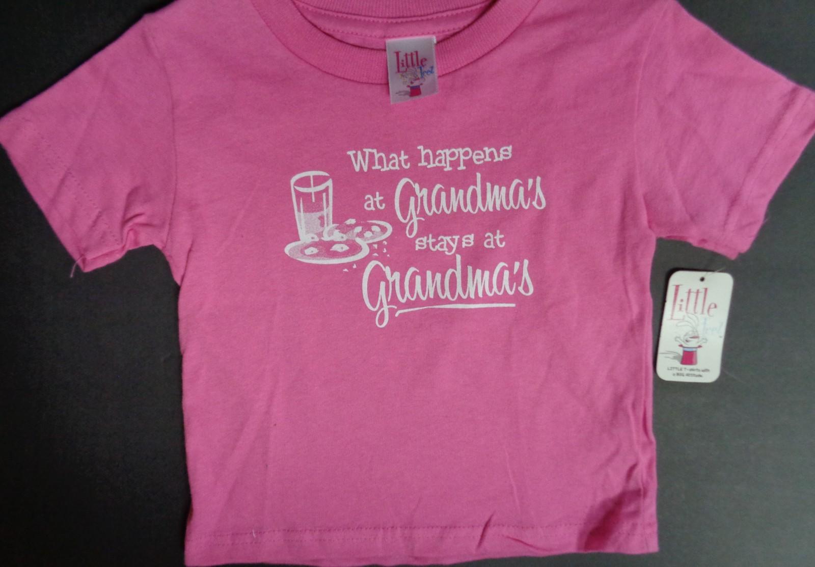 WHAT HAPPENS AT GRANDMA'S STAYS AT GRANDMA'S Toddler T-Shirt NWT Sz 2T