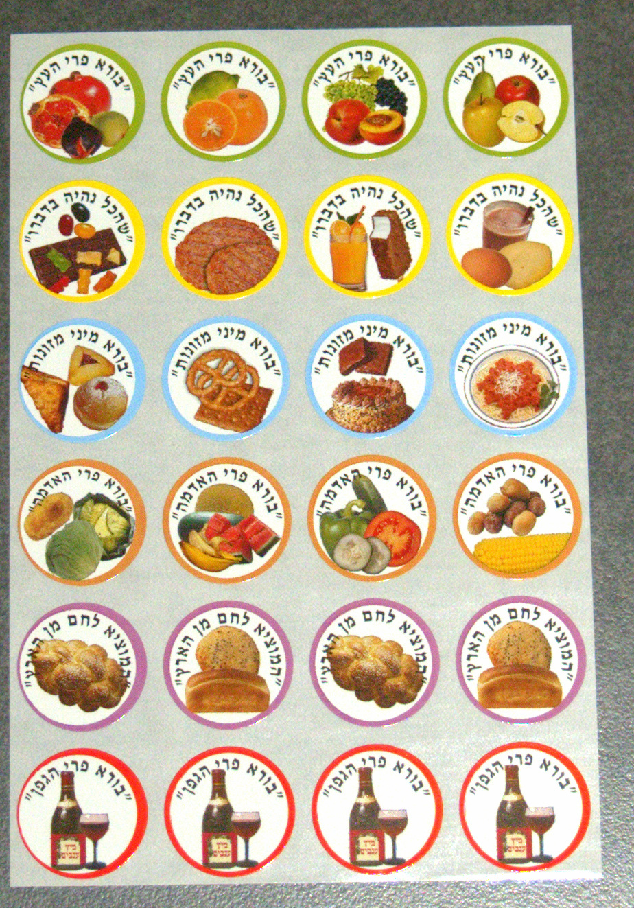 Judaica Blessings Symbols Stickers Children Teaching Aid Israel Hebrew Lot 240