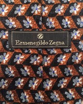 Ermenegildo Zegna Silk Tie Exclusive Design Flowers Floral Brown Black - $35.95
