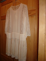 NWT H&M Vintage Inspired Off white Women dress chiffon- Lace long bodice... - $15.99