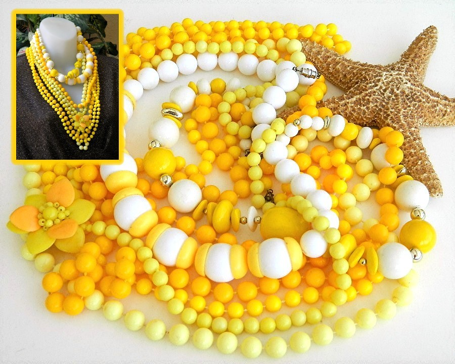 Primary image for Vintage Lot 7 Plastic Bead Necklaces Yellow White Flower 18 To 60 Inch