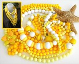 Vintage lot 7 plastic bead necklaces yellow white flower 18 to 60 inch thumb155 crop