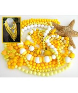 Vintage Lot 7 Plastic Bead Necklaces Yellow White Flower 18 To 60 Inch - $24.95