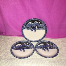 Folk Craft by Tienshan Wolf Blue Sponge Stoneware Chop Plate & 2 Dinner ... - $34.64